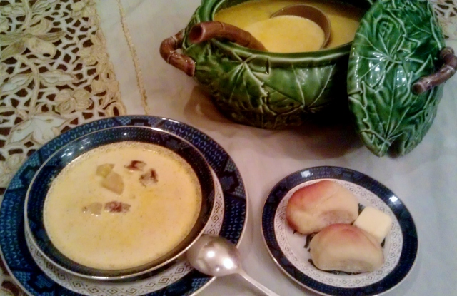 Nothing beats a hot creamy soup on a cold winter's day, seen here with University Club dinner rolls taken from the cookbook of Ailene van Dozer, who ran the University Club dining room in Tuscaloosa for many years.