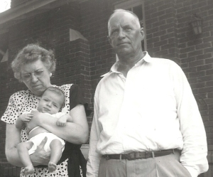 Grandmama, Grandaddy and me, 1950, in front of their house at 4425 Montevallo Road. The house was razed about 30 years ago to make way for a strip mall. After Uncle Bubba's funeral, we ate in a Chinese restaurant in the exact same spot where my grandmother's kitchen used to be.