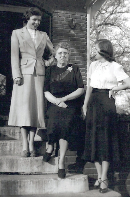 Grandmama with her daughters, Peggy on the left and Mama on the right, posing for a fashion feature in the Birmingham News about 1946.