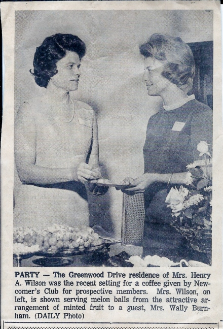 From the Decatur Daily, sometime in 1967. Mama grew the flowers in the yard, and just for the record, they may be melon balls on the plate, but they didn't come from the bowl of frosted grapes (a Jane Wilson specialty) sitting nearby.