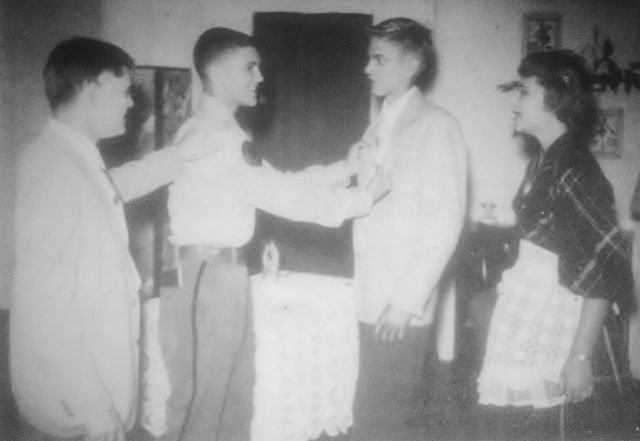 "Randy (the tall one) gets his first taste of applause as the star of his Junior Class Play, ""Father Knows Best"""